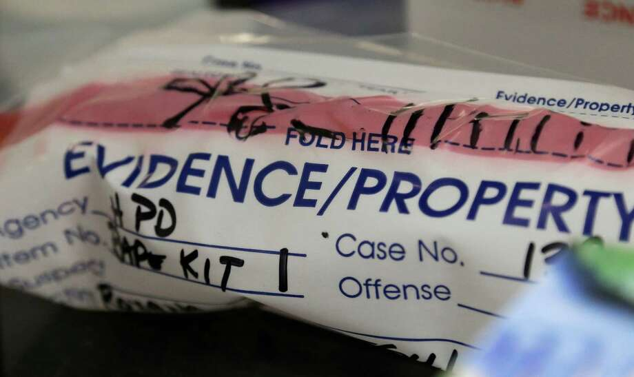 This Thursday, April 2, 2015 photo shows an evidence bag from a sexual assault case in the biology lab at the Houston Forensic Science Center in Houston. Legislators in more than 20 states are considering _ and in some cases, passing _ laws that include auditing all kits and deadlines for submitting and processing DNA evidence. (AP Photo/Pat Sullivan) Photo: Pat Sullivan, STF / AP