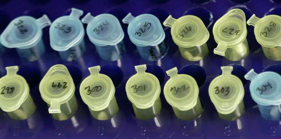 Vials of evidence in a sexual assault case are labeled and sorted in the biology lab at the Houston Forensic Science Center in Houston on Thursday, April 2, 2015. In some cases, it's simply too late for justice because statutes of limitations have expired. In others, investigators may have to wade through old, often incomplete, police files, search for witnesses and suspects, confront fading memories and persuade survivors to reopen painful chapters of their lives. (AP Photo/Pat Sullivan) Photo: Pat Sullivan, STF / AP