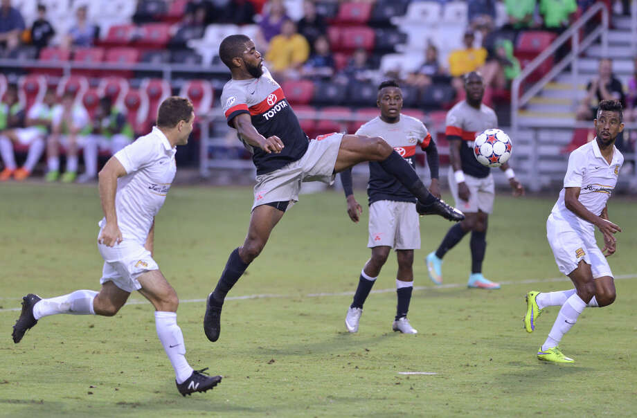 Scorpions Joseph Nane hits the Scorpions first goal against Ft. Lauderdale during their North American Soccer League match Saturday at Toyota Field. Photo: Robin Jerstad, Freelance / San Antonio Express-News