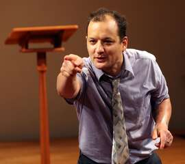 """Elias (Sean San Jose) returns to Delano to find his congregation is struggling in Magic Theatre's premiere of Luis Alfaro's """"This Golden State -- Part One: Delano""""  NOTE: San Jose takes accent / over the final e"""