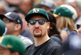 OAKLAND, CA - MAY 31:  Golden State Warriors player Klay Thompson watches the Oakland Athletics play the New York Yankees at O.co Coliseum on May 31, 2015 in Oakland, California.  (Photo by Ezra Shaw/Getty Images)