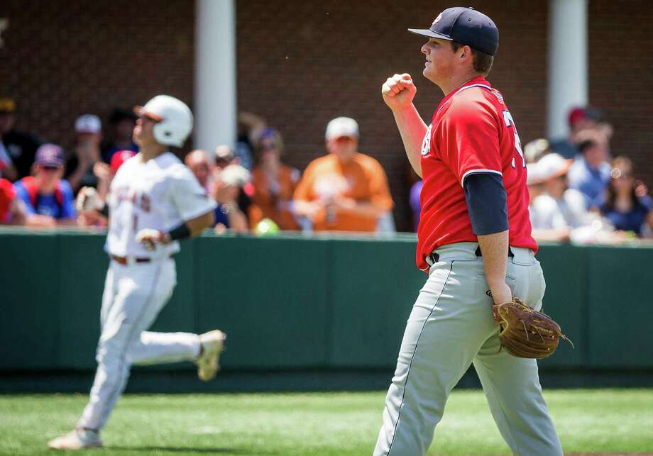 Dallas Baptist pitcher Cory Taylor pumps his fist after recording the final out of his complete game victory over Texas in an NCAA baseball regional game on Sunday, May 31, 2015, at Horner Ballpark in Dallas. DBU won the elimination game, 8-1. (Smiley N. Pool/Dallas Morning News/TNS) Photo: Smiley N. Pool, McClatchy-Tribune News Service / Dallas Morning News