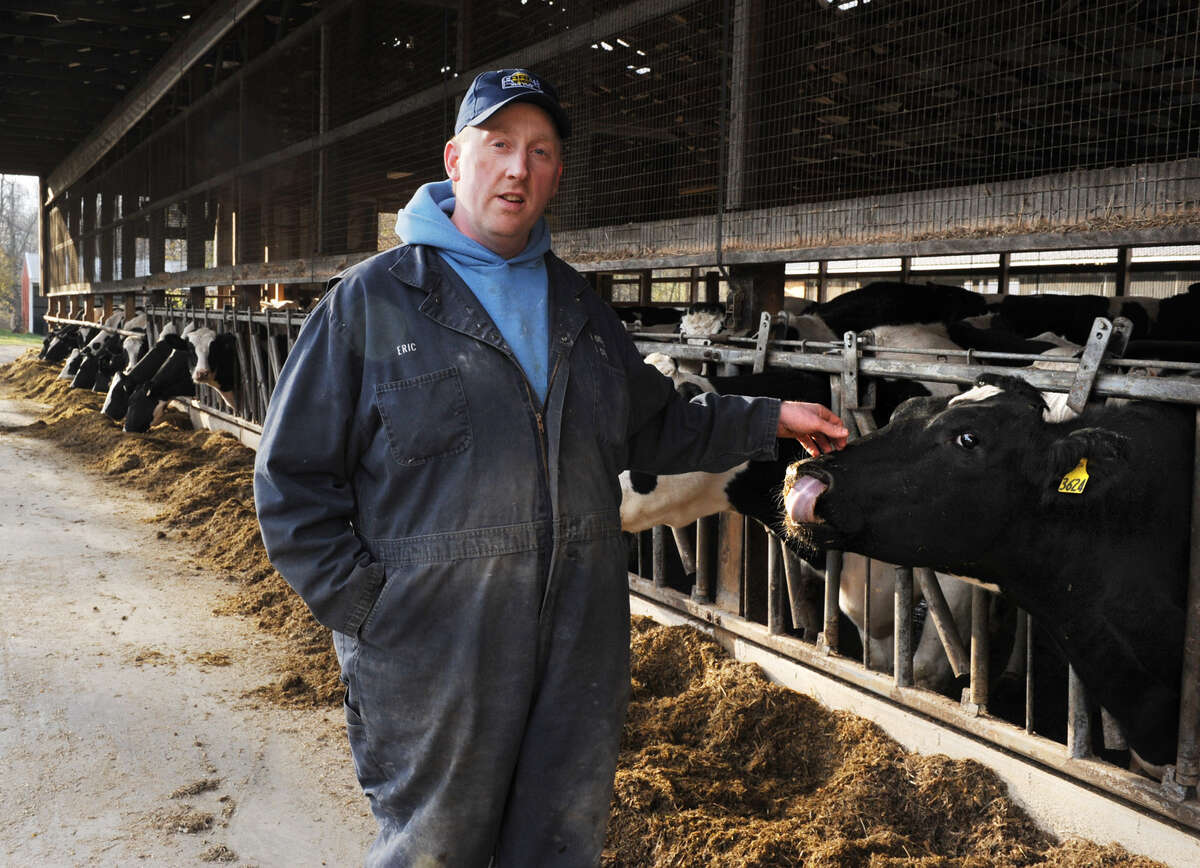 Eric Ooms stands next to his cows at A. Ooms & Sons dairy farm on Friday, Nov. 16, 2012 in Valatie, N.Y. Ooms was interviewed by DC bureau's Dan Freedman for story about the farm bill's future in Washington. (Lori Van Buren / Times Union) ORG XMIT: MER2015053021293048
