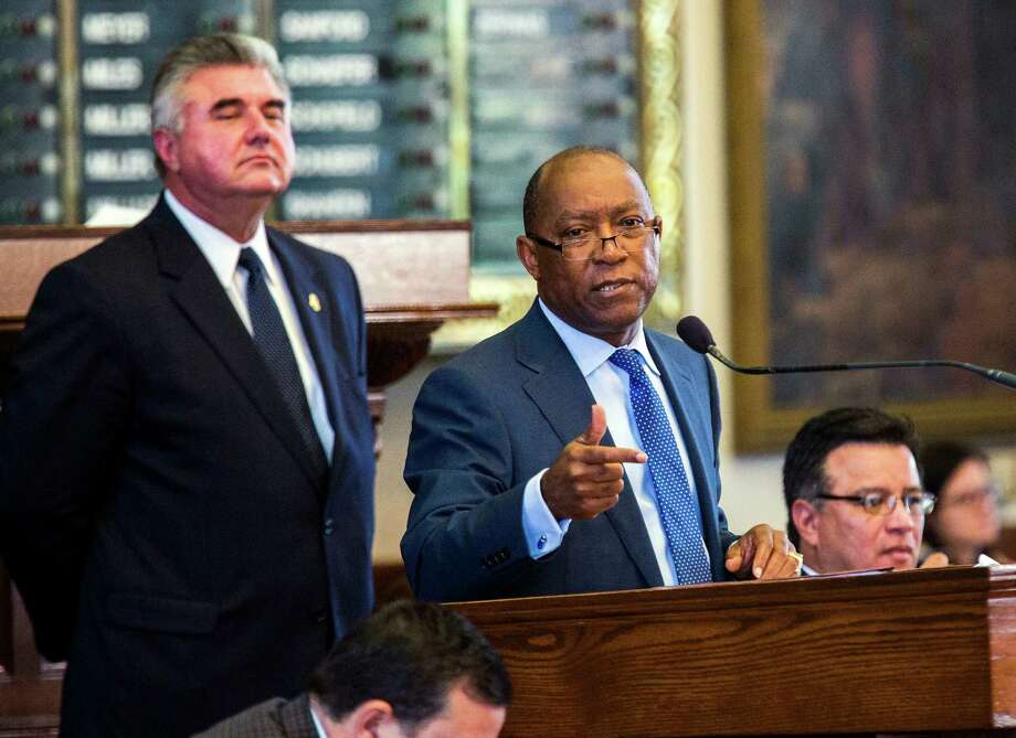 Rep. Sylvester Turner, D-Houston, speaks in opposition of the bill on Sunday in Austin. Photo: Ashley Landis, MBR / The Dallas Morning News