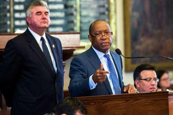 Rep. Sylvester Turner, D-Houston, speaks in opposition of the bill on Sunday in Austin.