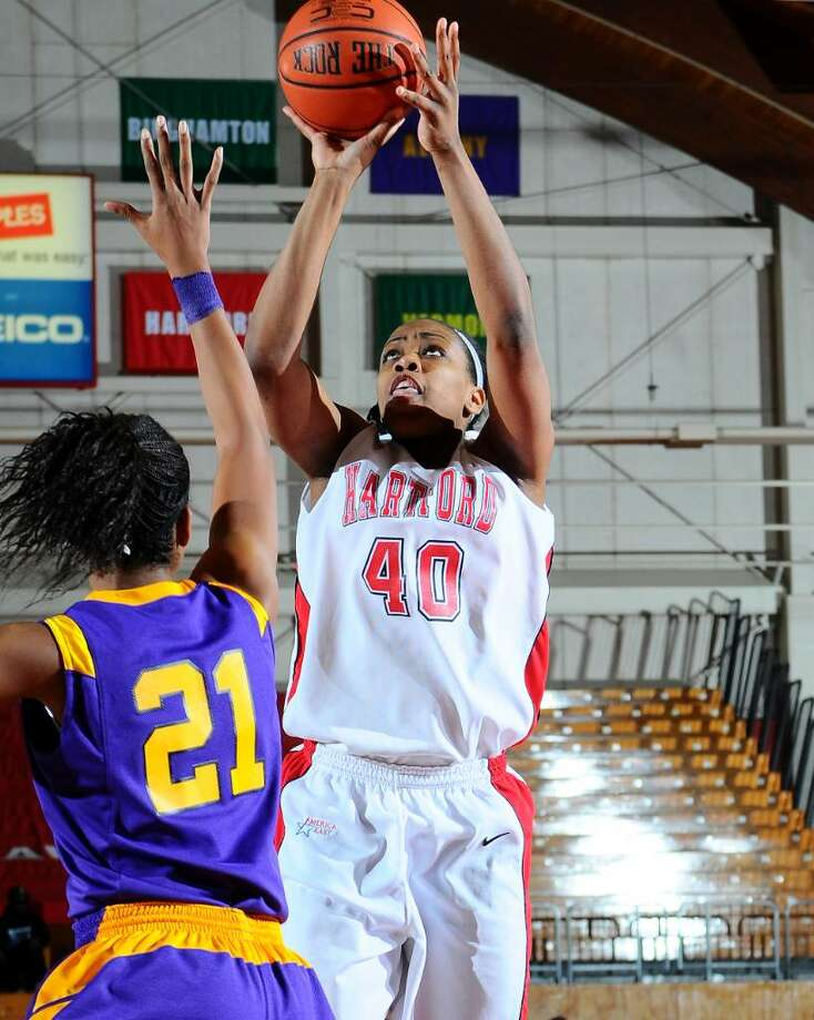 Westhill grad Diana Delva, the America East Player of the Year, and the rest of the Hartford Hawks will take Vermont tonight in the America East championship game. Photo: Contributed Photo, Steve McLaughlin/University Of Hartford / Stamford Advocate Contributed