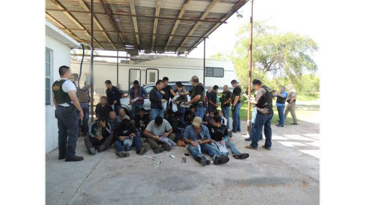U.S. Border Patrol agents arrested 49 people believed to be in the country illegally after a traffic stop led them to a nearby residence last week. Texas Department of Public Safety officers discovered 18 undocumented immigrants in a box trailer during a traffic stop at about 3 p.m. Thursday in Pharr, leading Border Patrol agents to a stash house in Palmhurst, where agents apprehended 31 people (pictured) believed to be in the country illegally.