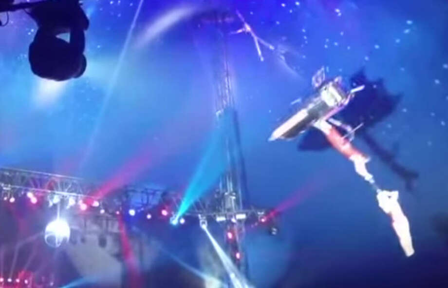 A stunt went wrong at a traveling circus in north Houston when an acrobat plummeted from a high-altitude stunt Thursday. Screenshot from YouTube Photo: YouTube