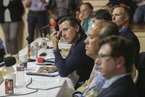 Lt. Gov. Gavin Newsom listens to audience questions during a forum held for the general public about the potential legalization of marijuana which was held at the Redwood Playhouse in Garberville, CA on May 29th 2015. Newsom came with the stateÕs Blue Ribbon Commission on Marijuana Policy to explore the potential of legalization.