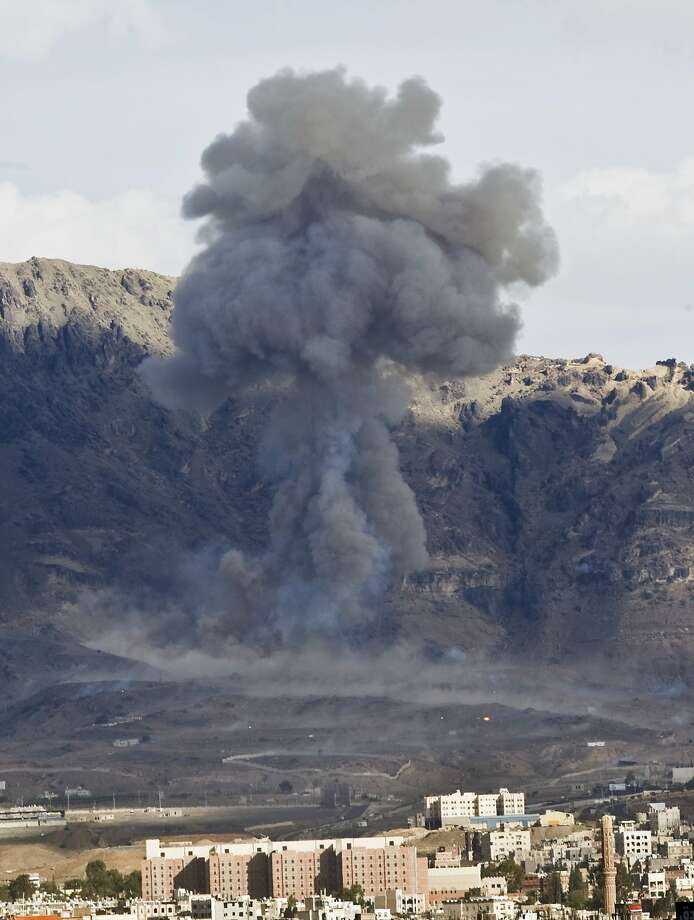 A Saudi-led air strike hits a site believed to be a large weapons depot on the outskirts of Sanaa. Photo: Hani Mohammed, Associated Press