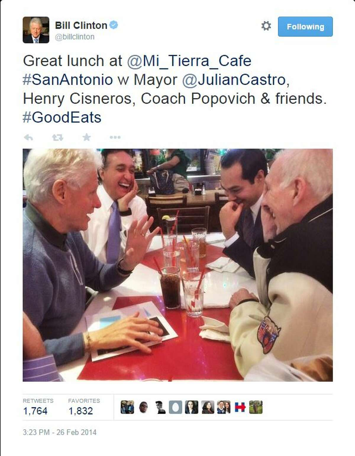 It seems whenever the Clintons are in town they hit up Mi Tierra, just as they did in the 1970s, with the green chicken enchiladas calling their name. Bill Clinton is a vegan now, but he has been known to cheat.