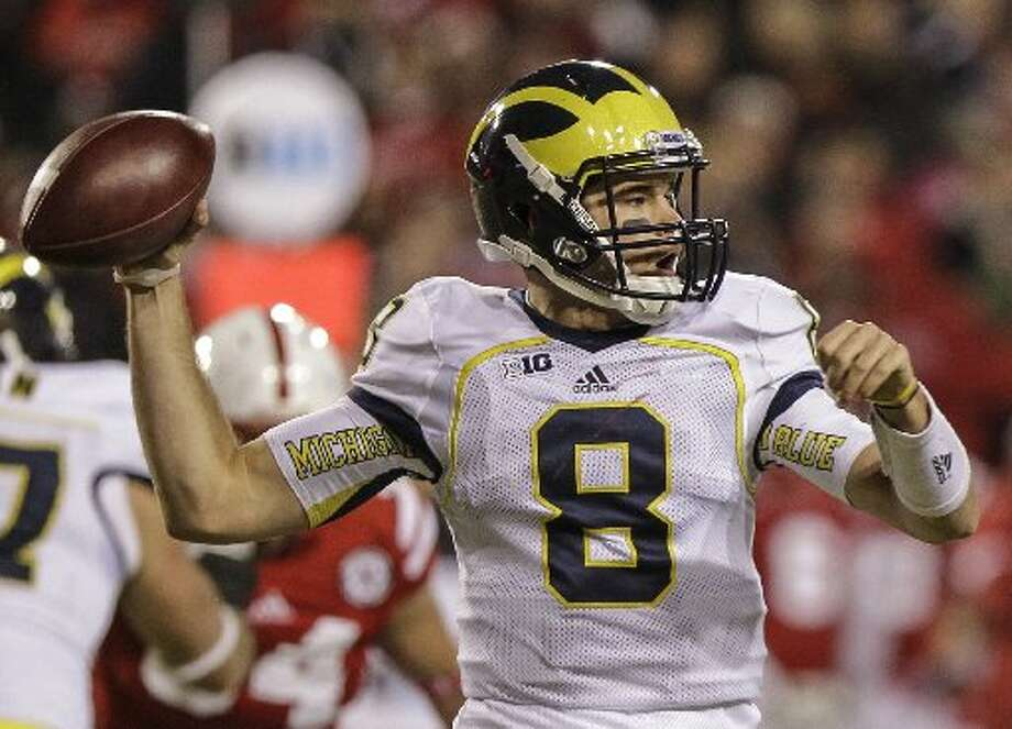 Michigan's backup quarterback Russell Bellomy throws against Nebraska in the second half of an NCAA college football game in Lincoln, Neb., Saturday, Oct. 27, 2012. Nebraska won 23-9. Photo: Nati Harnik /AP Photo
