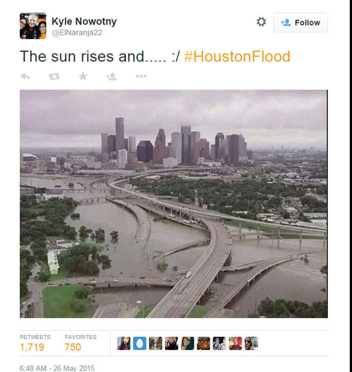 No, this photo doesn't show Houston after the Memorial Day rains this year. It's actually an image of the Bayou City after Tropical Storm Allison in 2001.