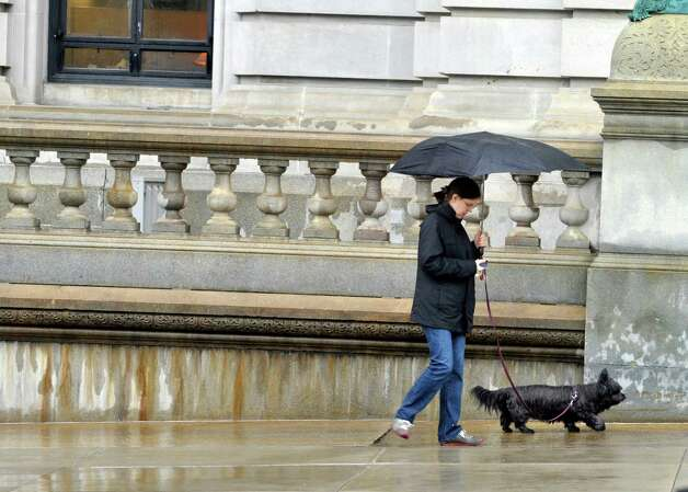 Bernadette Baird-Zars of Albany walks Abby, the dog owned by her father and his wife, outside the Capitol  on Monday, June 1, 2015, in Albany, N.Y.    (Paul Buckowski / Times Union)