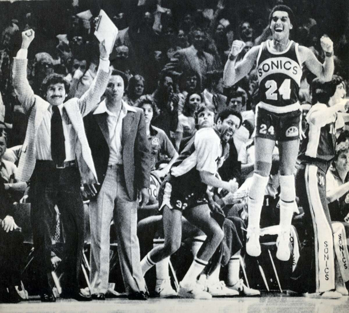 Seattle SuperSonics win the 1979 NBA Championship From left, SuperSonics assistant coach Les Habegger, head coach Lenny Wilkens, team captian Fred Brown and Dennis Johnson celebrate as they close in on a title on June 1, 1979.