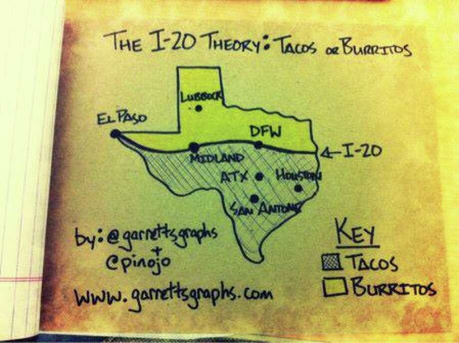 "Garrett Heath attempted to settle the tacos versus burritos debate with an original map, titled ""The I-20 Theory: Tacos or Burritos.""  Photo: Garrett Heath"