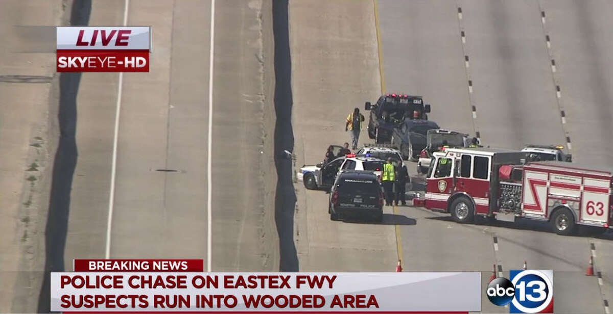 A car ditched by two subjects in a high-speed police chase is tying up rush hour traffic on U.S. 59 northbound near Beltway 8.