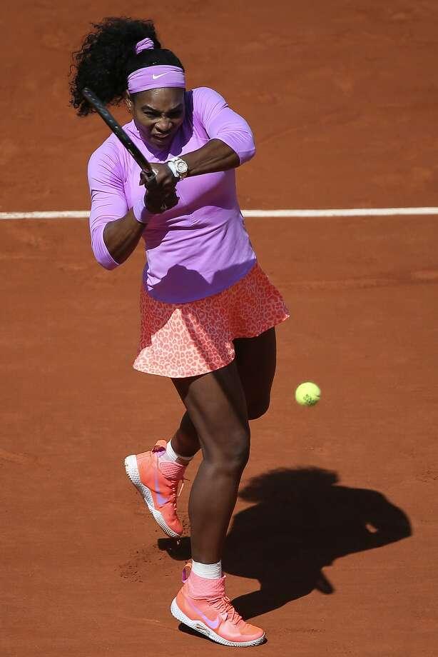 Serena Williams returns to Sloane Stephens during their fourth-round match at Roland Garros. Photo: David Vincent, Associated Press