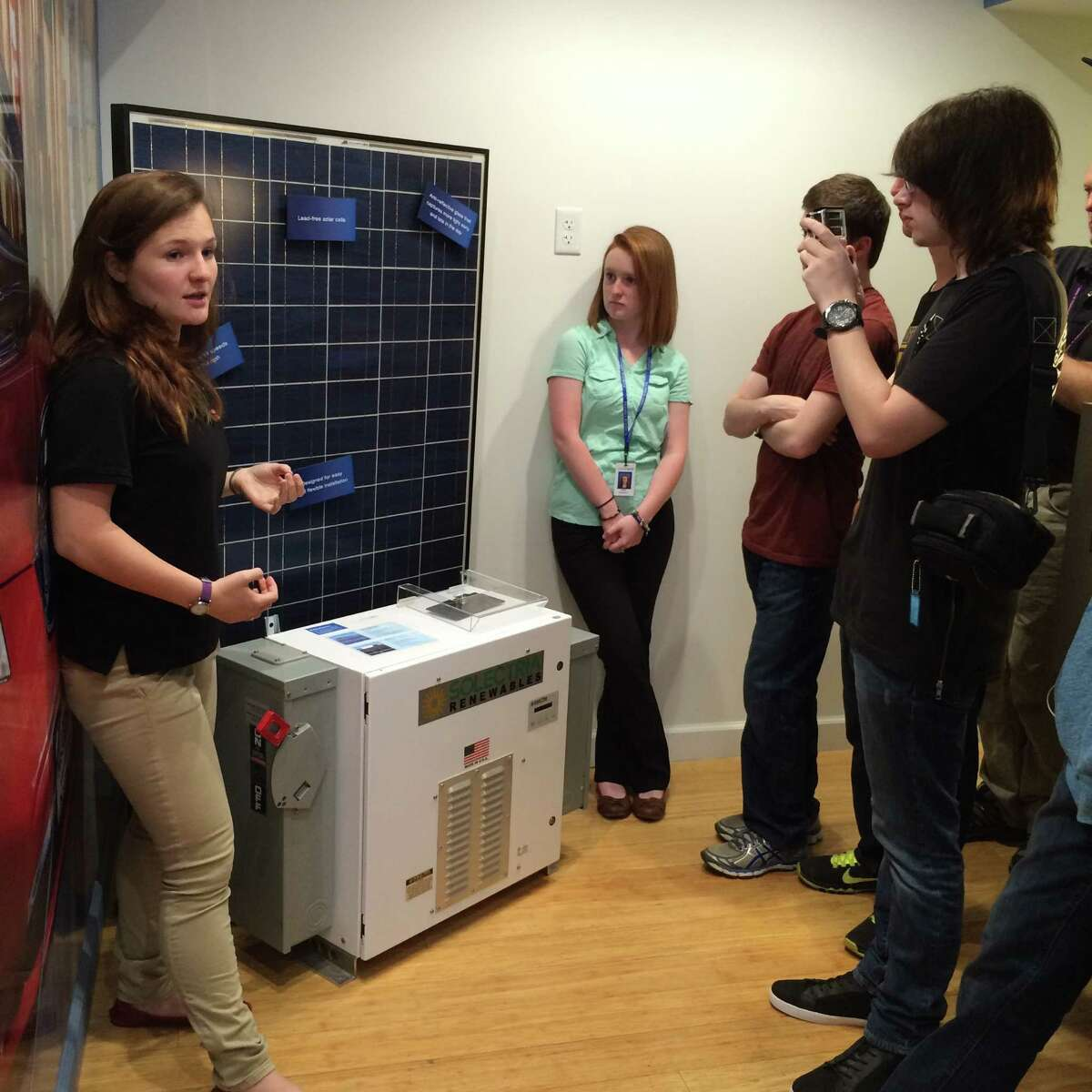 About 70 juniors from Clean Technologies & Sustainable Industries Early College High School in Malta took a trip last week to National Grid?s Sustainability Hub in Worcester, Mass. Photo coutesy National Grid