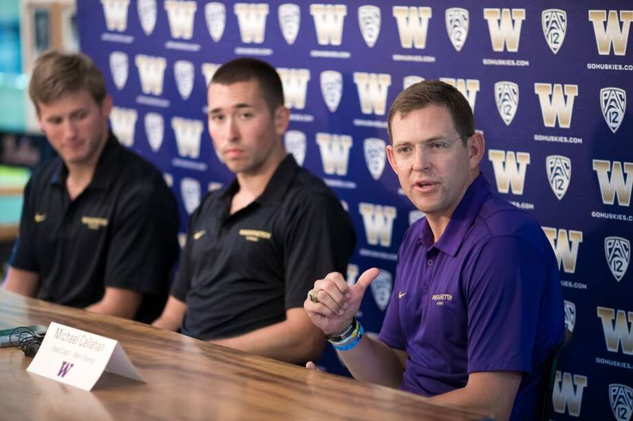 UW menÕs crew head coach Michael Callahan, right, and seniors Eric Ledbetter, center, and Edward Nainby-Luxmoore, left, speak to media a day after the HuskiesÕ fifth straight IRA National Championship, photographed Monday, June 1, 2015, at the University of Washington in Seattle, Washington. (Jordan Stead, seattlepi.com) Photo: SEATTLEPI.COM