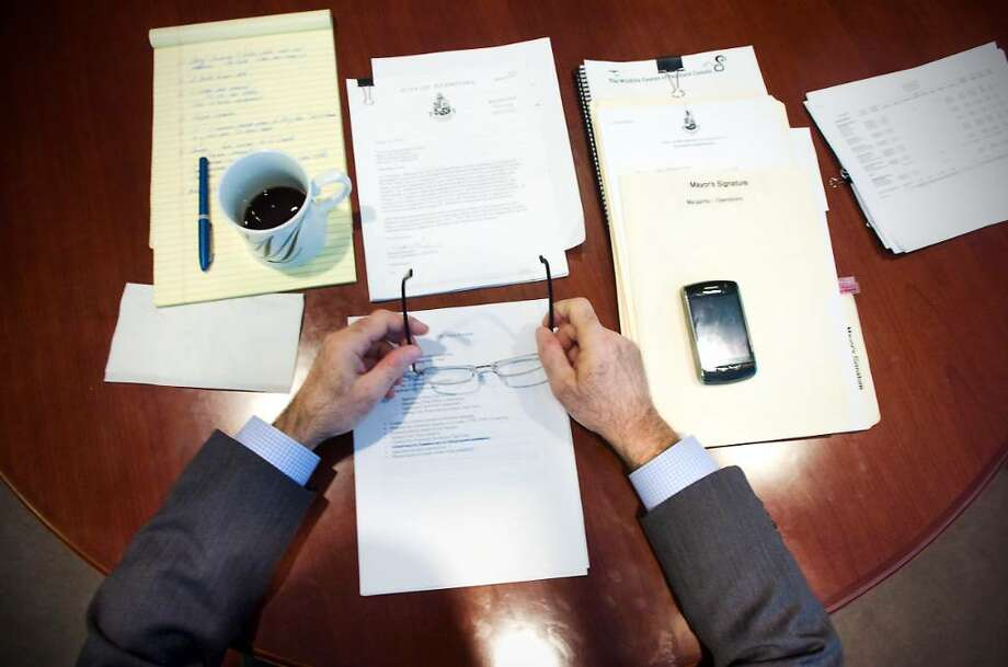 Mayor Michael Pavia sits at a conference table during a meeting in his office at the Government Center in Stamford, Conn. on Thursday, March 11, 2010. Photo: Kathleen O'Rourke / Stamford Advocate