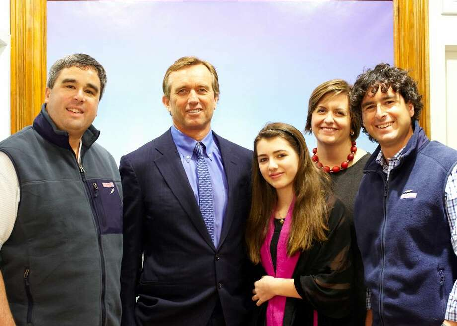 Shep Murray of Vineyard Vines; Robert F. Kennedy Jr.; Kyra, RFK Jr.'s daughter; Kristine Stratton, Exec Director of Waterkeeper Alliance; and Ian Murray. Vineyard Vines is assisting Waterkeeper Alliance, a global movement of on-the-water advocates who patrol and protect more than 100,000 miles of rivers, streams and coastlines in North America, South America, Europe, Australia, Asia and Africa. Photo: Contributed Photo / Greenwich Time Contributed