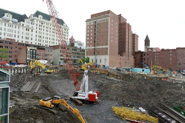 Construction work on the foundation for Albany's new convention center takes place Monday, June, 1, 2015, in Albany, N.Y. The $66.5 million state-funded Albany Capital Center is scheduled for completion in 2017. (Will Waldron/Times Union) Photo: WW