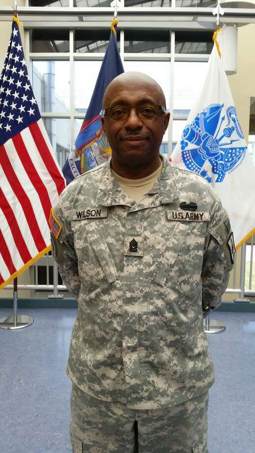 New York Army National Guard Command Sgt. Major Louis E. Wilson, 59, will accept the Medal of Honor on behalf of World War I Army veteran Henry Johnson of Albany in the White House on Tuesday, June 2, 2015. Wilson, a retired police officer from Rochester, is shown Friday in National Guard headquarters in Latham. (Dennis Yusko / Times Union)