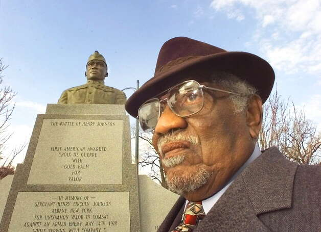 Herman Johnson at the Henry Johnson monument in Washington Park Tuesday, Feb. 9, 1999, in Albany, Tuesday. (Michael P. Farrell/Times Union archive) Photo: MICHAEL P. FARRELL / TIMES UNION
