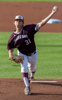 Texas A&M Matt Kent  delivers a pitch against  California in the first inning at the College Station Regional baseball tournament in College Station, Texas, Monday, June 1, 2015. (AP Photo/Juan DeLeon) Photo: Juan DeLeon, FRE / Associated Press / FR171058 AP