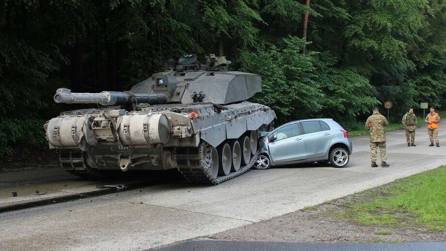 Apparently it's hard for a 62-ton tank to stop on a dime, as a student driver in Lippe district, Germany, found out. Photo: Courtesy Lippe Police