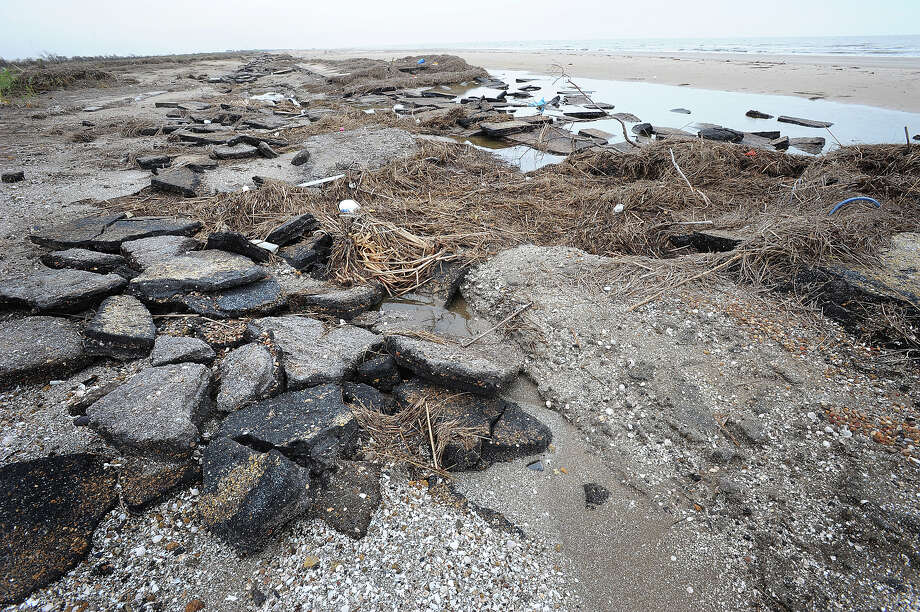 Remnants of the original Texas 87 were unearthed when Hurricane Ike blew the dunes off of McFaddin Beach. Thursday, November 13, 2008  Guiseppe Barranco/The Enterprise