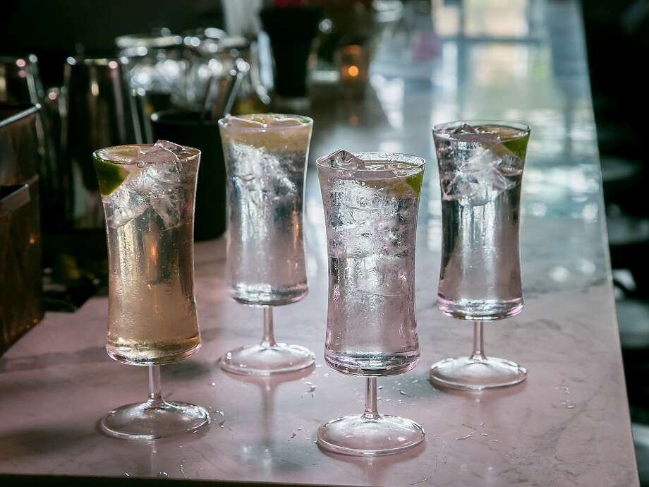 Gin & Tonics, left to right; , 209 Gin with Fever Tree Tonic; St. George Terrior with Q Tonic; Sipsmith Gin with Fevertree Mediterranean and a Junipero Gin with Fentiman's at Aatxe in San Francisco, Calif., are seen on June 1st, 2015. Photo: John Storey, Special To The Chronicle
