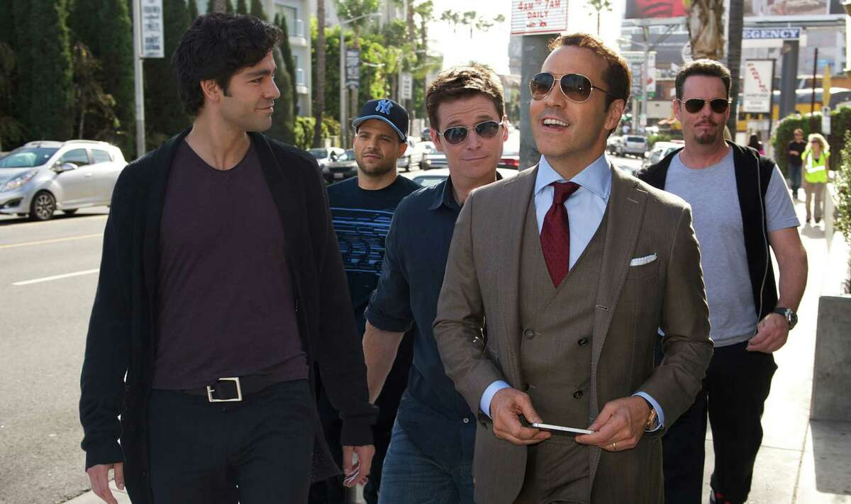"""Adrian Grenier, from left, Jerry Ferrara, Kevin Connolly, Jeremy Piven and Kevin Dillon star in """"Entourage,"""" which picks up a few months after the television series left off."""