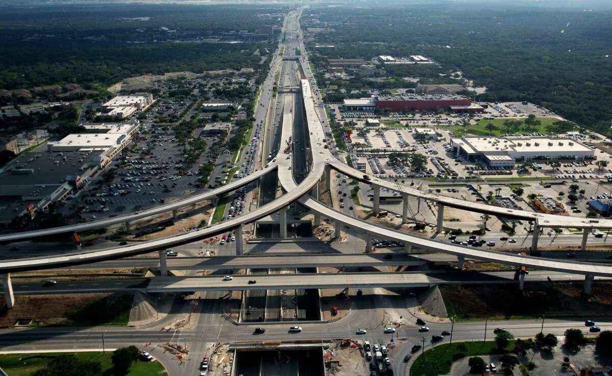 The still-under-construction U.S. 281 and Loop 1604 interchange on the northside is seen in this Oct. 25, 2012, aerial photo looking south toward downtown.