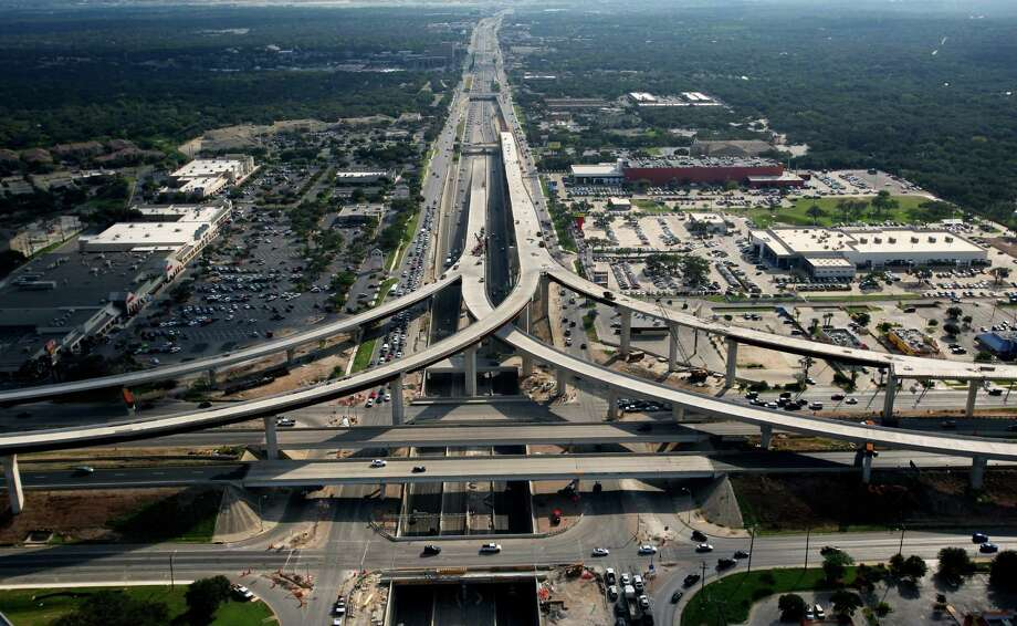 The still-under-construction U.S. 281 and Loop 1604 interchange on the northside is seen in this Oct. 25, 2012, aerial photo looking south toward downtown. Photo: William Luther /San Antonio Express-News / © 2012 San Antonio Express-News