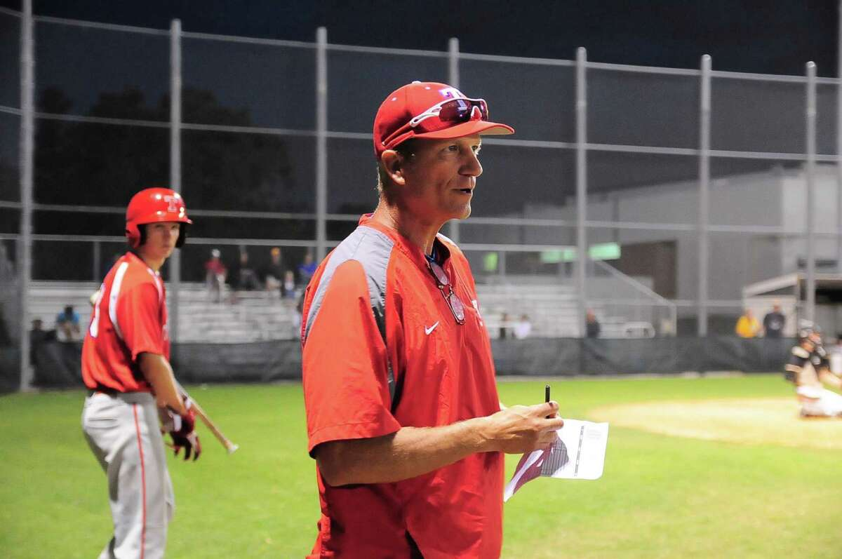 Tomball baseball head coach Doug Rush during their game with Spring Woods at Spring Woods Friday 04/11/14.
