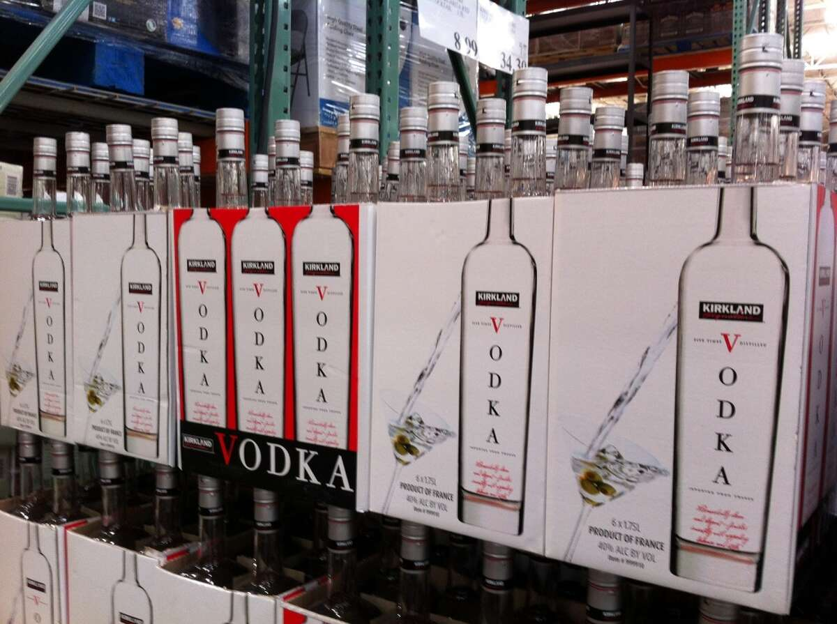Love: Great booze deals. Oh, look! A 1.75 liter of Kirkland Signature vodka for $13.99.