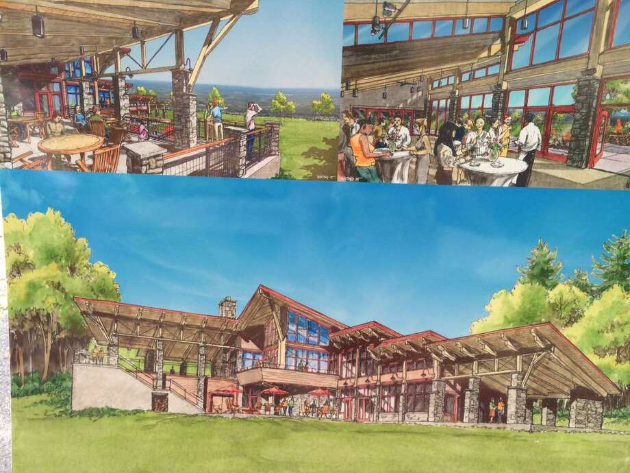 This group of photographs shows various views of the visitors' center the state plans to build at Thacher Park in the town of New Scotland. (Cathleen Crowley / Times Union)