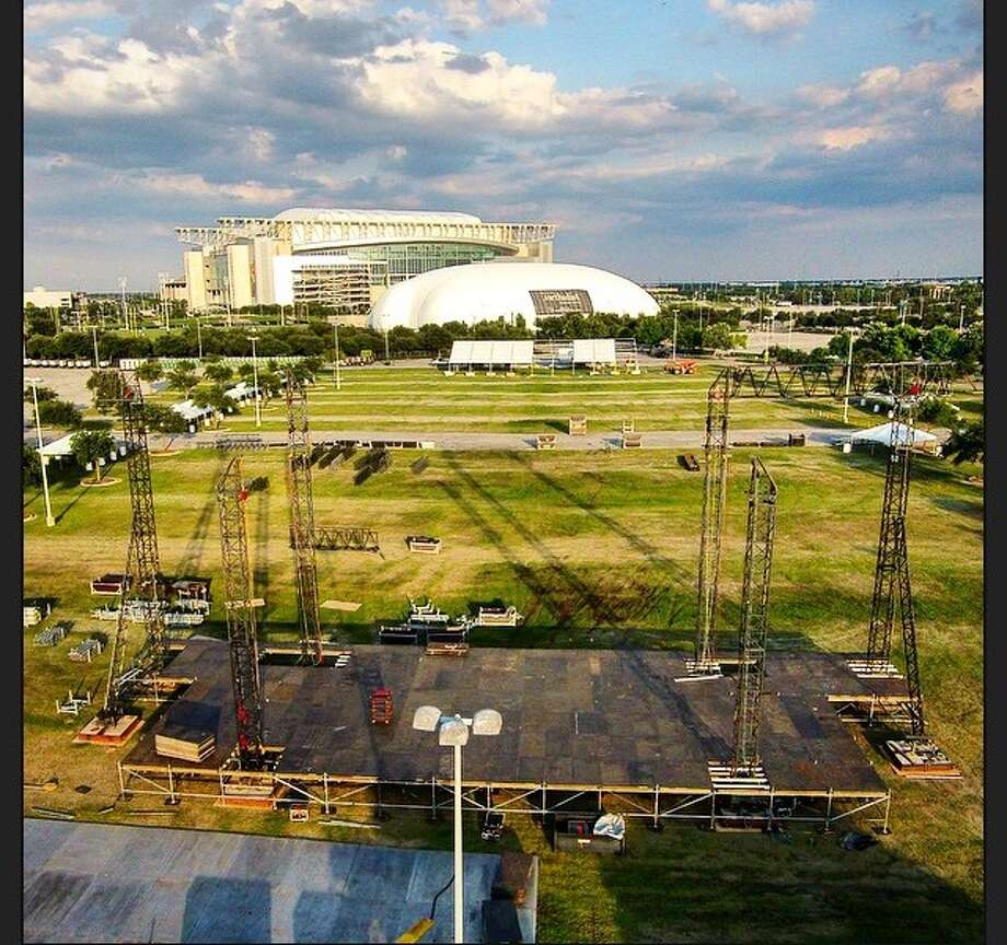 This is an overhead view of the Mars stage at Free Press Summer Festival, currently setting up shop in the yellow lot at NRG Park. The organizers moved the festival from Eleanor Tinsley Park due to the high water on site last week after the historic flooding. (Photo: Omar Afra)