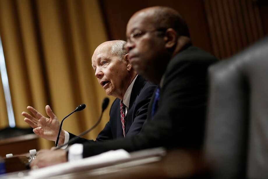 Internal Revenue Service Commissioner John Koskinen (left) and IRS Inspector General J. Russell George testify before a Senate panel. Photo: Win McNamee, Getty Images