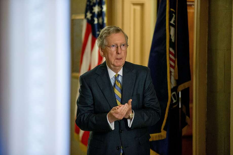 Senate Majority Leader Mitch McConnell of Ky. arrives for a Senate policy luncheon on Capitol Hill in Washington, Tuesday, June 2, 2015, as legislation to end the National Security Agency's collection of Americans' calling records while preserving other surveillance authorities is expected to clear the Senate late Tuesday. But House leaders have warned their Senate counterparts not to proceed with planned changes to a House version. (AP Photo/Andrew Harnik) Photo: Andrew Harnik, Associated Press