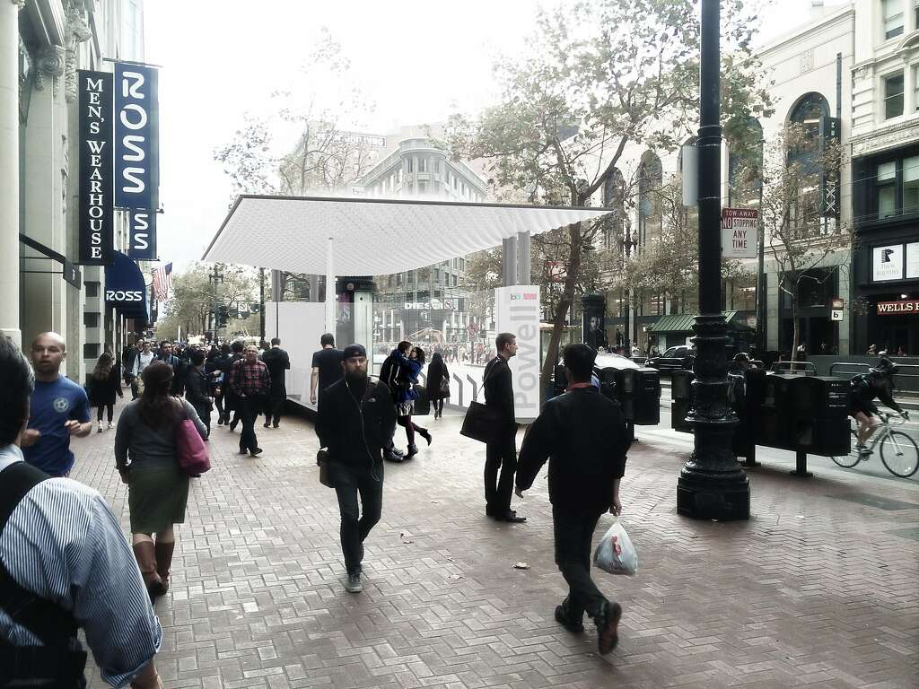 The proposed design of a new entrance to the BART Powell Street Station includes a protective & Mid-Market BART stationsu0027 portals to get glassy makeover - San ...