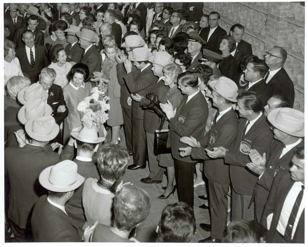 Lady Bird Johnson, wife of then-U.S. Sen. Lyndon Johnson, gets a warm welcome at North Star Mall on opening day, Sept. 23, 1960.