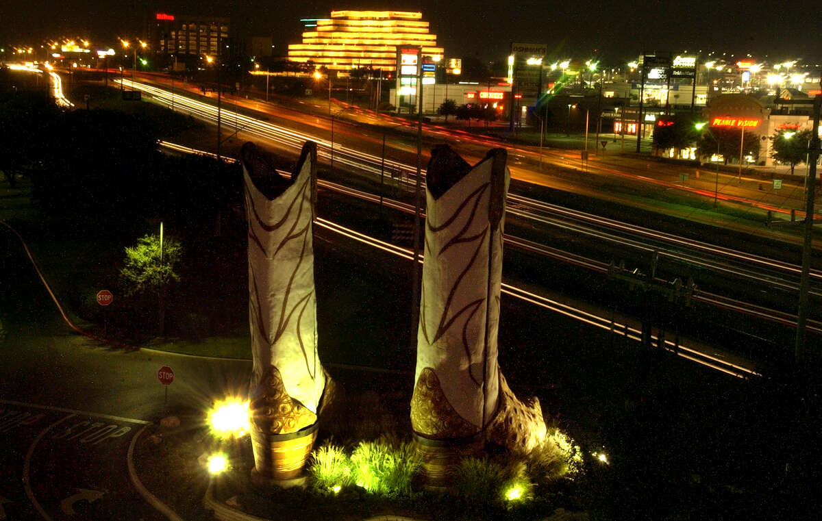 North Star Mall's 40-foot boots, a longtime landmark, stand outside the mall.