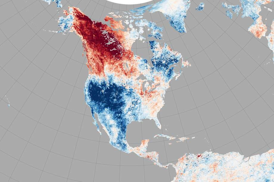 This map was built from data gathered by a NASA satellite and shows surface temperatures between May 17 and 24, 2015, as compared to the 2001-2010 average. Red indicates above average and blue indicates below average. During the week pictured, Alaska hit higher temperatures than Houston has yet to see all year. 