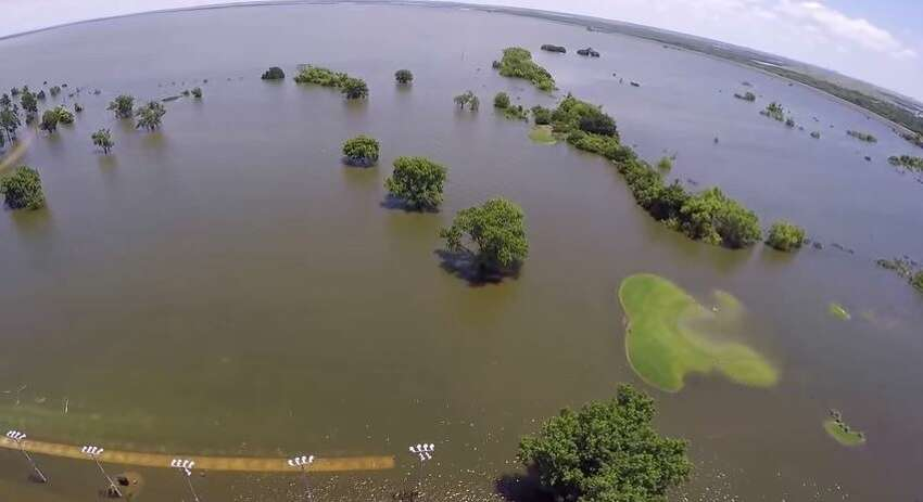 A YouTube video uploaded by drone enthusiast, Lance Loveland, show Lake Park Golf Club completely overtaken by neighboring Lake Lewisville, in Lewisville, Texas