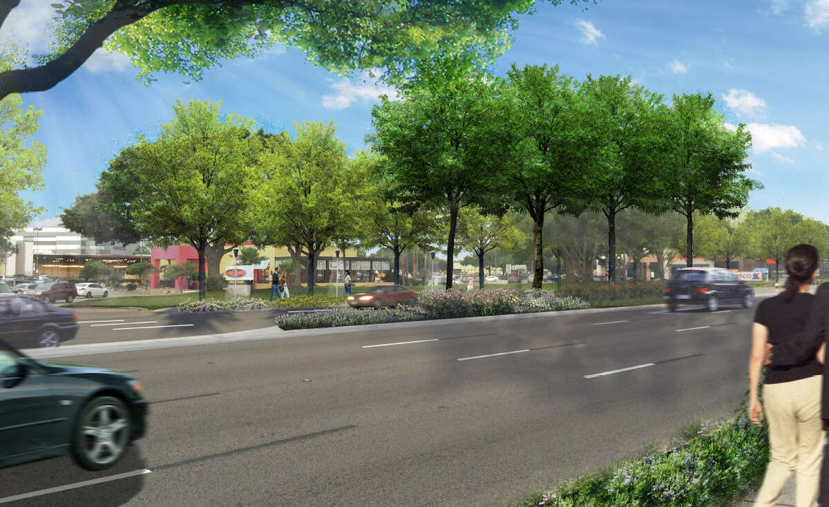 This is an artist's rendering of improved landscaping proposed on Westheimer east of Wilcrest as part of the Westchase District's plans to improve the corridor. This is an artist's rendering of improved landscaping proposed on Westheimer east of Wilcrest as part of the Westchase District's plans to improve the corridor.
