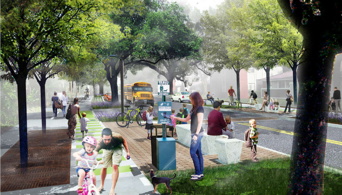 """This shows improvements that would make portions of Meadowglen more pedestrian- and bicycle-friendly as part of Westchase District's plans to create """"signature streets."""""""