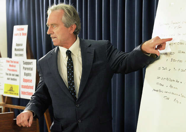 Robert F. Kennedy, Jr., voices his his opposition to New York Assembly Bill A791 to mandate meningococcal injections for sixth and eleventh graders during a news conference in the LOB Tuesday June 2, 2015 in Albany, NY.  (John Carl D'Annibale / Times Union) Photo: John Carl D'Annibale, Albany Times Union / 00032111A